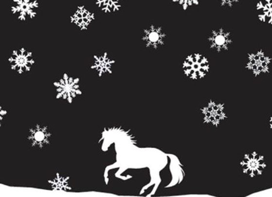 White Cantering Horse with Snow Flakes