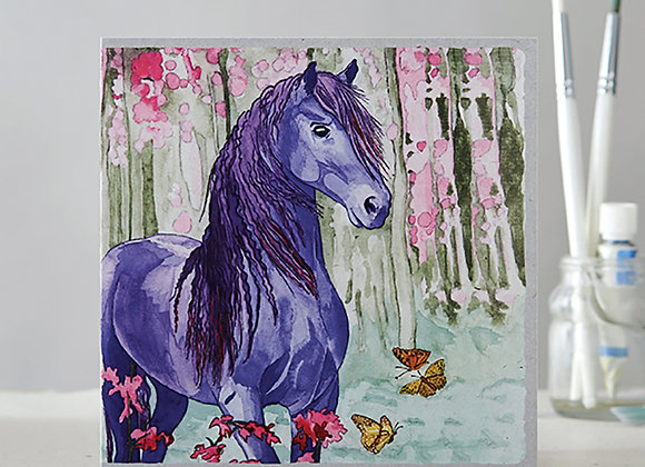 Purple horse with butterflies