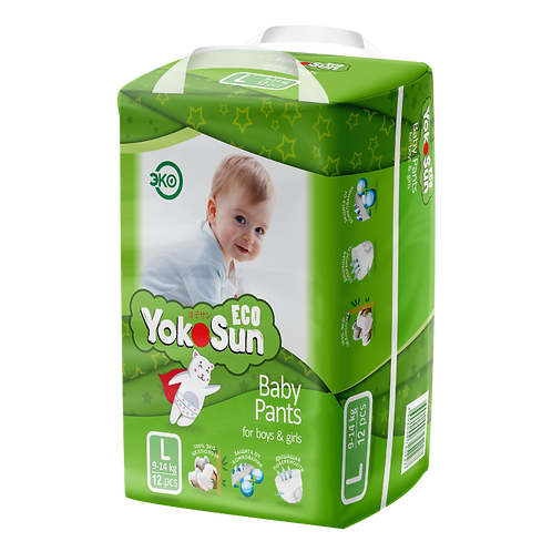 YokoSun Eco, трусики, размер L (9-14 кг) мини упаковка
