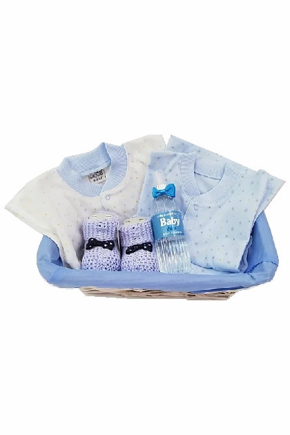Bebek Hediye Sepeti Mavi Pijamalı Patikli