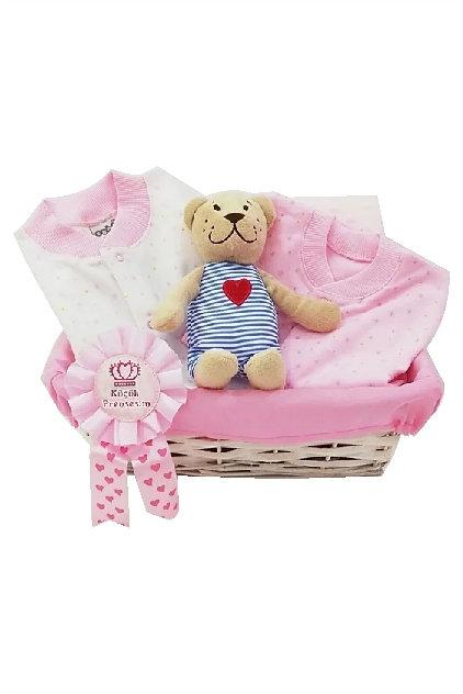 Pijamalı Bebek Hediye Sepeti Pembe