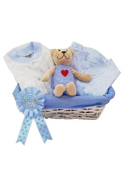 Pijamalı Bebek Hediye Sepeti Mavi