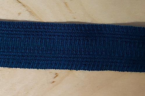 Zacht gebreid lint petrolblauw (15mm breed)