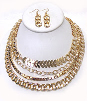 Layered Flat Chain Necklace and Earrings