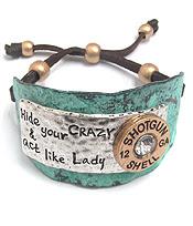 Leatherette Pull Tie Shotgun Bracelet