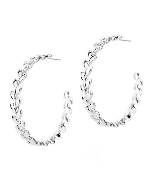 Silver Olive Leaf Hoops
