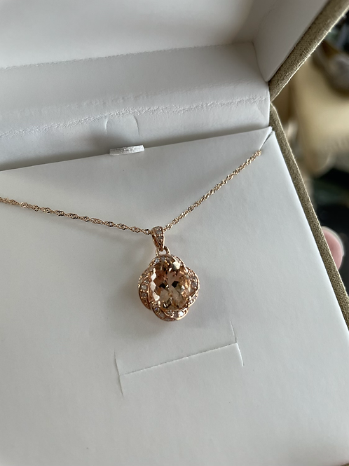 Diamond & Morganite Rose Gold Necklace