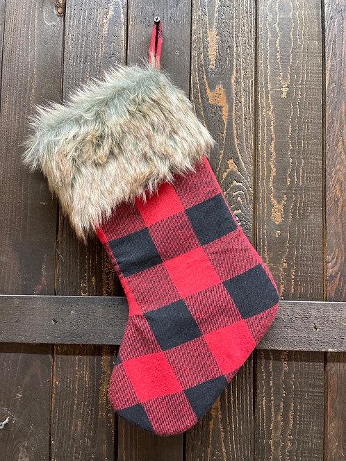 Buffalo Plaid & Faux Fur Stocking