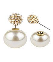 White Pearl Double Stud Earrings