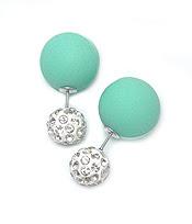 Mint Stoned Double Stud Earrings