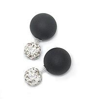 Black Stoned Double Stud Earrings