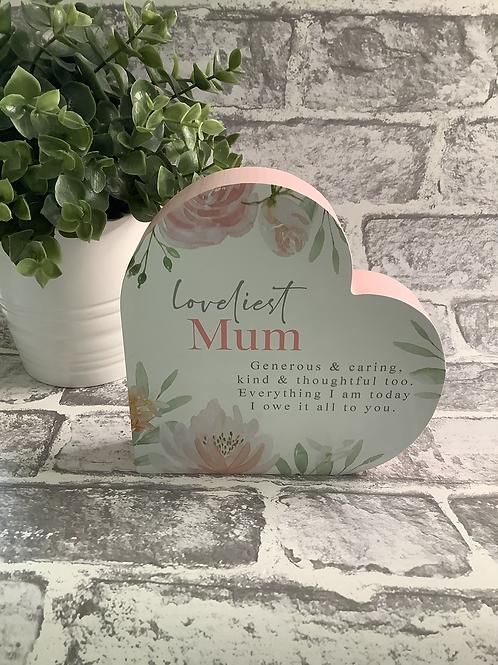 Loveliest Mum Block Heart