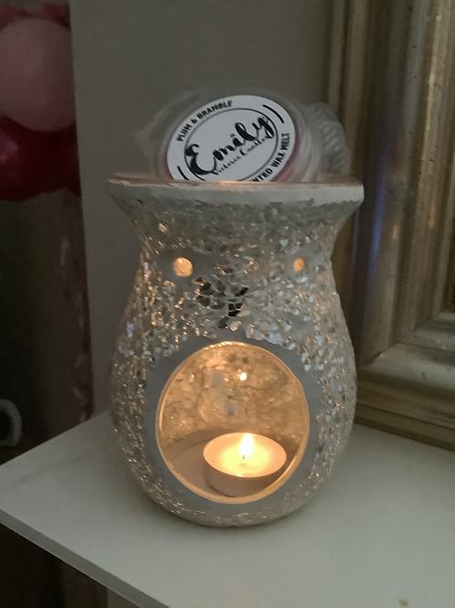 Silver Mosaic Crackle Wax Melt Warmer