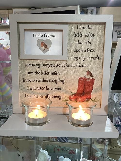 Rememberance Robin candlelight Frame