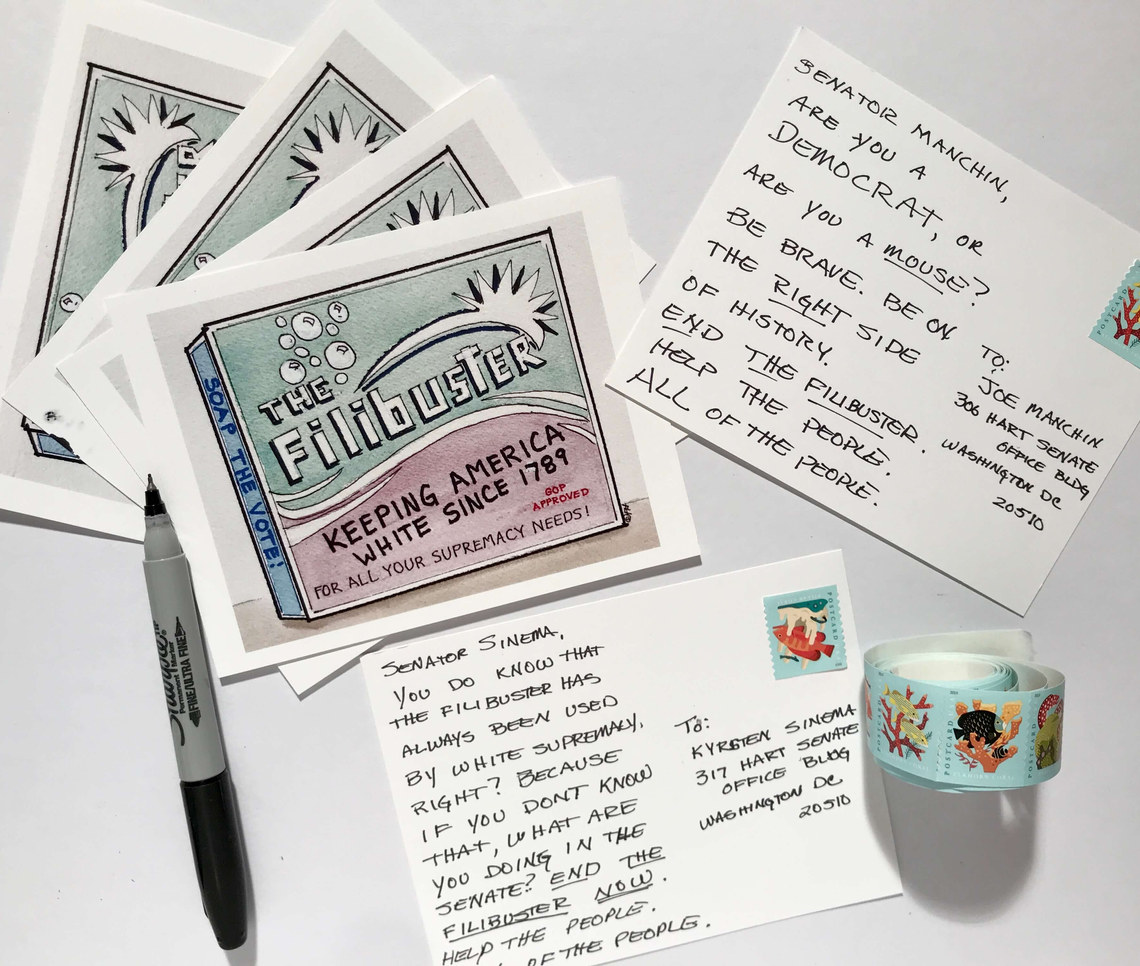 Time for another postcard campaign! End the filibuster! Click on the link to my Etsy shop above for all of the details!