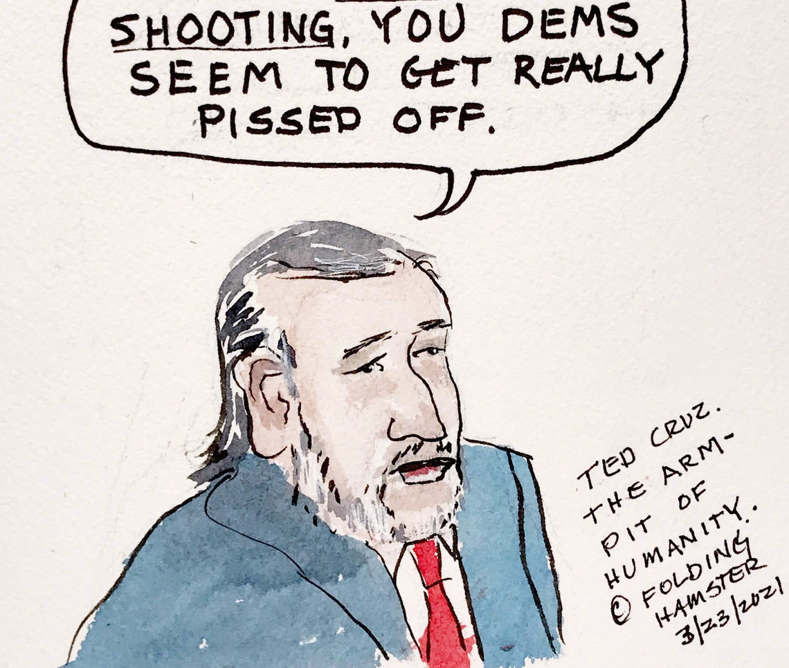 """After back to back mass shootings in Atlanta and Boulder, Ted Cruz called Dem efforts to pass gun control measures theatrics and said that """"after every mass shooting you try to take people's guns away. Which only makes it worse."""""""