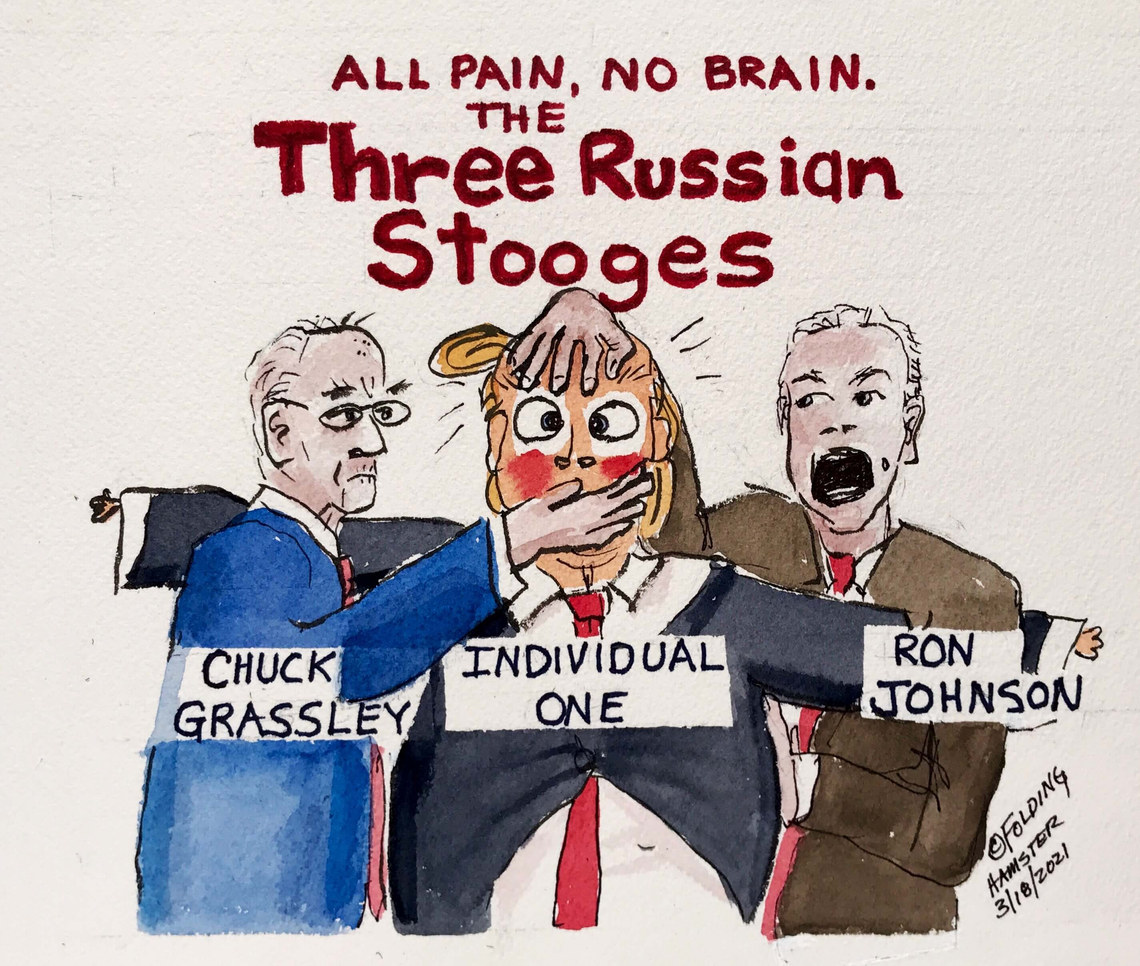 Evidence emerges: Russia in the 2020 election. Again. Grassley and Johnson were some of the biggest stooges, spreading Russian disinformation and The Big Lie.