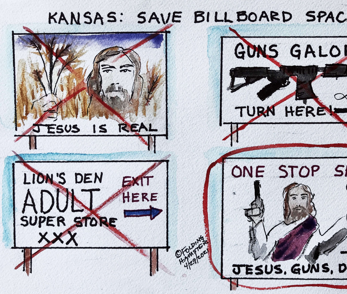 If you drive through Kansas, look for the Jesus-In-The-Wheat billboard (Colby). It's there somewhere among the signs for guns and adult stuff. #wtaf