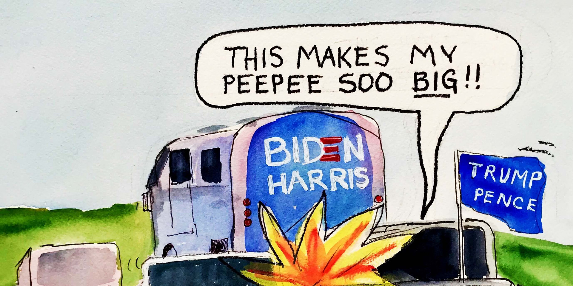 Biden-Harris campaign bus swarmed by assholes in Texas, causing a dangerous situation. But it also involved tiny erections, so that's cool.