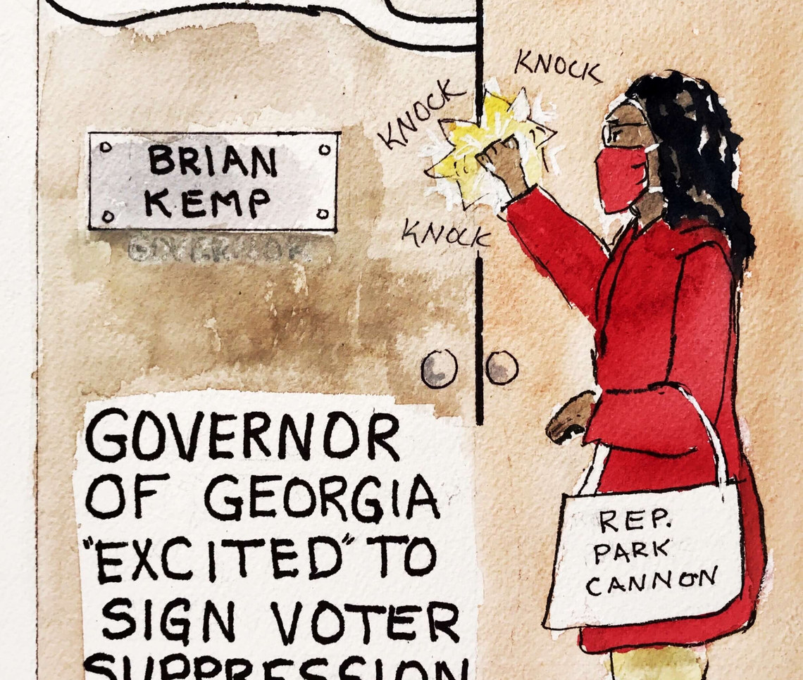 Georgia Rep Park Cannon was arrested for knocking on the door to witness governor Kemp signing the most egregious voter suppression bill in decades. #BeatinTheBillMeat #KeepKnocking #WankingTheVotesAway #FappingForWhiteSupremacy
