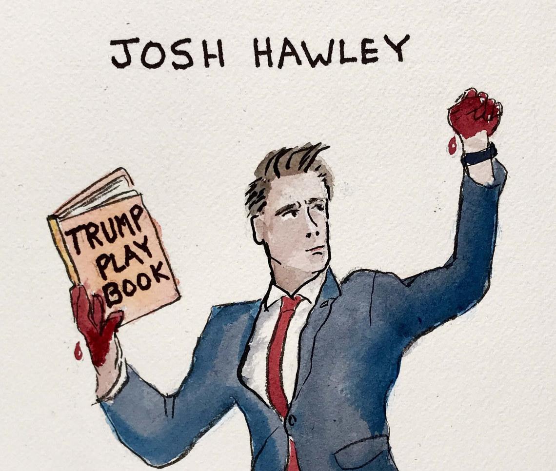 #TrumpWannaBe #FascistHawley #BloodOnHisDesignerSlimSuit