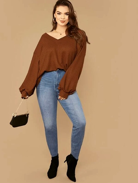SHEIN Plus Drop Shoulder Lantern Sleeve Waffle Knit Top