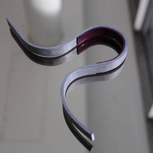 Narrow grey veneer bracelet with purple suede lining
