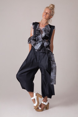 Flocked Top, Oversized Trousers