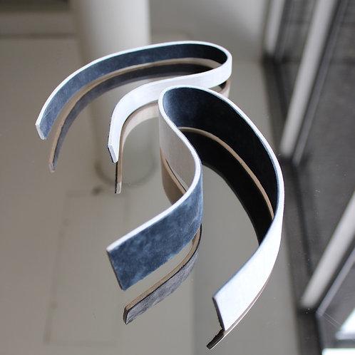 Two strip veneer bracelets with grey suede lining