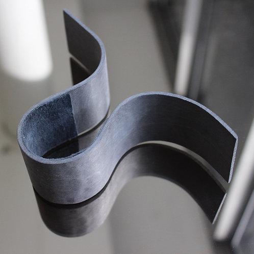 Wide grey veneer bracelet with grey suede lining