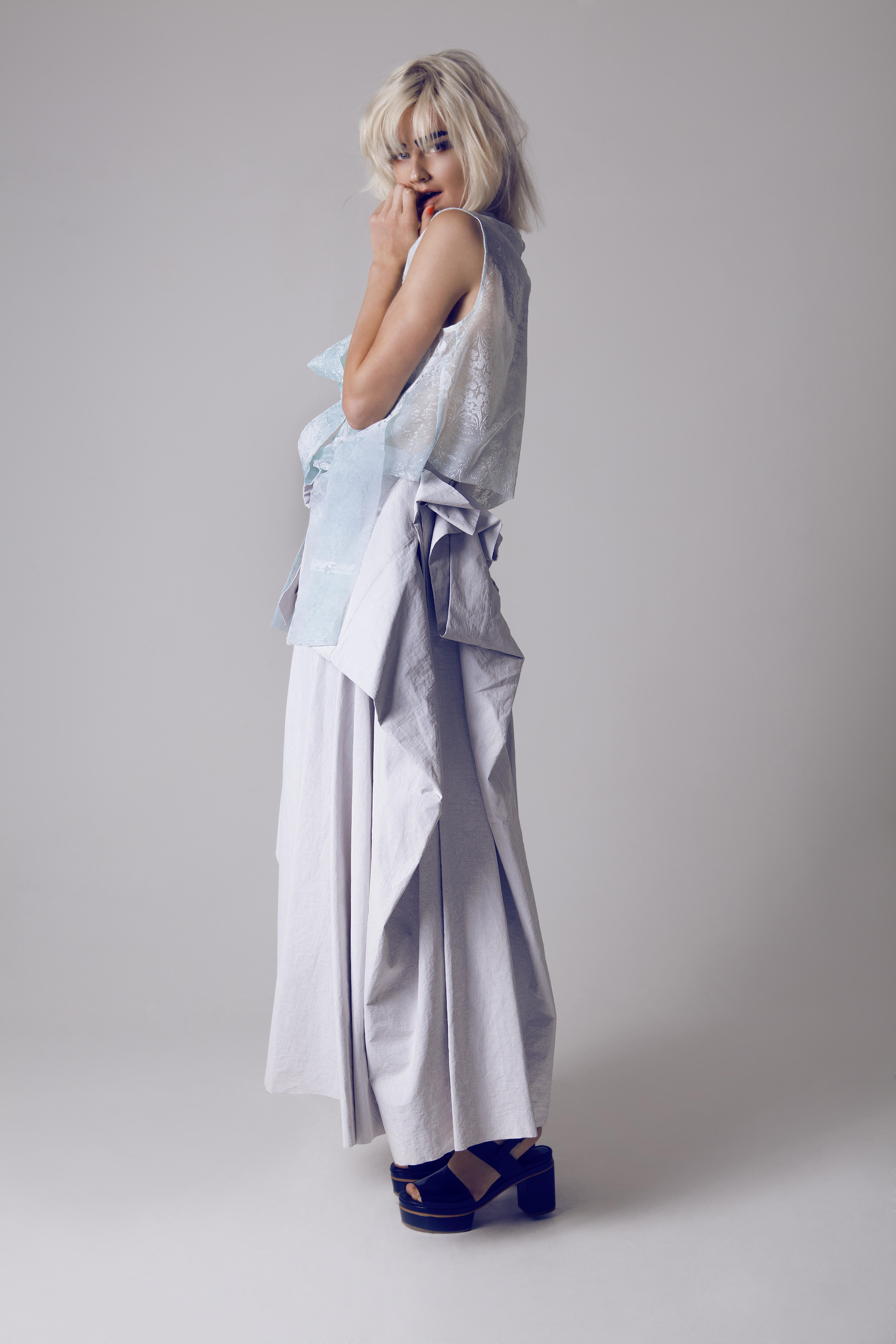 Flocked Top, Volume Draped Skirt