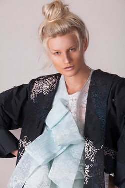 Embroidered Jacket, Flocked Top