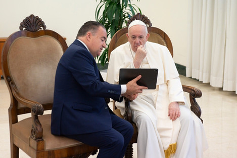With Papa Francesco for the presentation of VatiVision