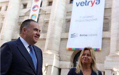 1° giorno di Quotazione in Borsa Italiana, con Katia Sagrafena, Piazza degli Affari, Milano, Italia