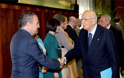 Premio Nazionale all'Innovazione 2013, con il Presidente della Repubblica Italiana, Giorgio Napolitano