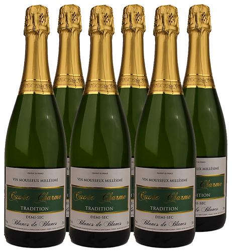"""Vin Mousseux Blanc Demi Sec """"Cuvée CHARME"""", Tradition Millésimé"""