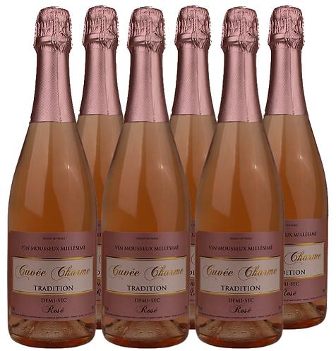 """Vin Mousseux Rosé Demi Sec """"Cuvée CHARME"""", Tradition Millésimé"""