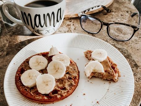 Peanut Butter Banana Protein Waffles