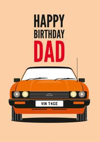 Ford Capri Birthday Card
