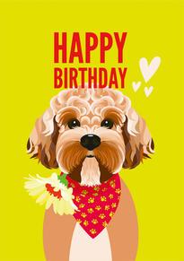 Cockapoo Flower Birthday Card