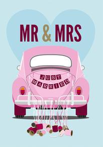 VW Beetle Wedding Card