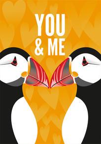Puffins Anniversary & Valentine Card