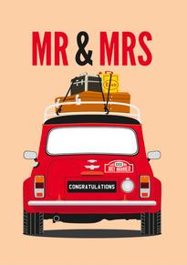 Mini Cooper Wedding Card