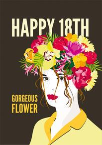 18th Flower Birthday Card