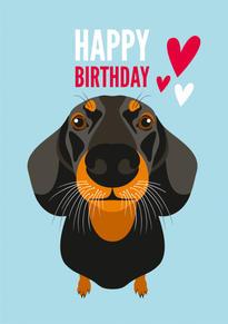 Dachshund Hearts Birthday Card