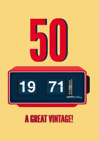 50th Vintage Birthday card