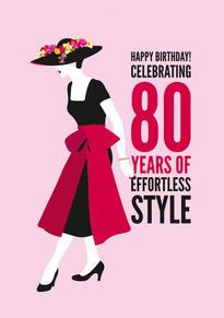 80th Style Birthday Card