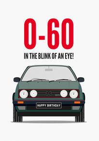 60th VW Golf Birthday Card