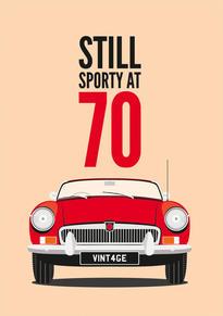70th Birthday MGB Card