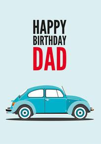 VW Beetle Birthday Card